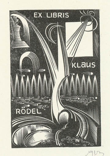 Exlibris by Leonid Scetnev from Soviet Union for Klaus Rödel - Abstract
