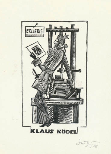 Exlibris by Stefan F. Turow from Soviet Union for Klaus Rödel - Literature Printing technique