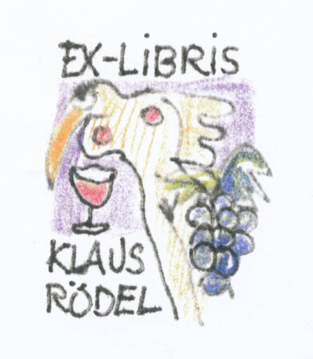 Exlibris by Erik Skjoldborg from Denmark for Klaus Rödel - Woman Wine