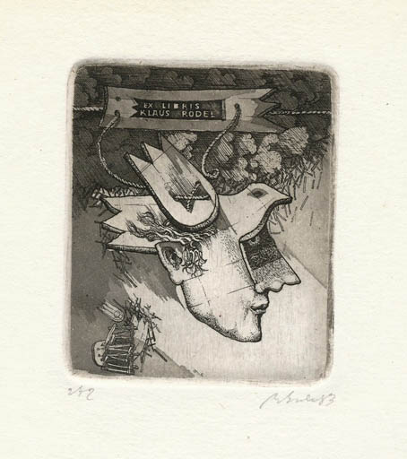Exlibris by Augustinas Virgilijus Burba from Lithuania for Klaus Rödel - Bird Portrait Surrealism