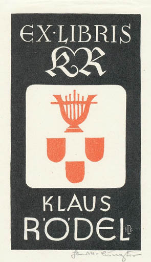 Exlibris by Hans Michael Bungter from Germany for Klaus Rödel - Literature Music