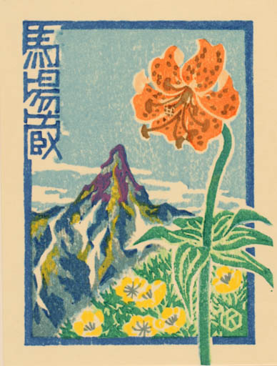Exlibris by Hiroshi Kawabe from Japan for ? ? - Mountain Flower Scenery/Landscape