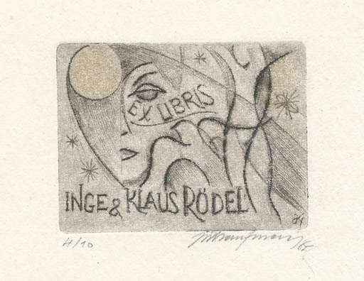 Exlibris by Jiri Kaufman from Czechoslovakia for Klaus & Inge Rödel - Woman