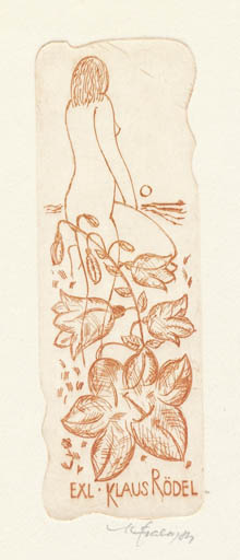 Exlibris by Karel Fiala from Czechoslovakia for Klaus Rödel - Flower Woman