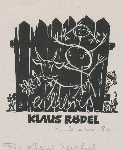 Exlibris by Zbigniew Dolatowski from Poland for Klaus Rödel - Europa and the Bull