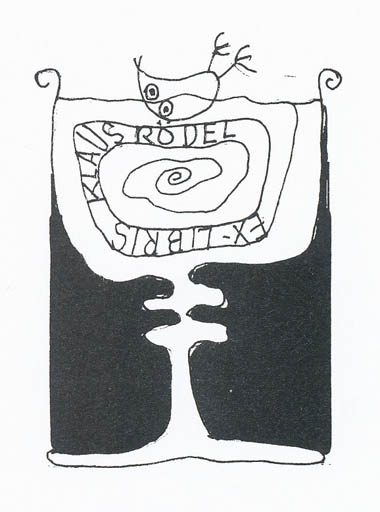 Exlibris by Erik Skjoldborg from Denmark for Klaus Rödel - Wine