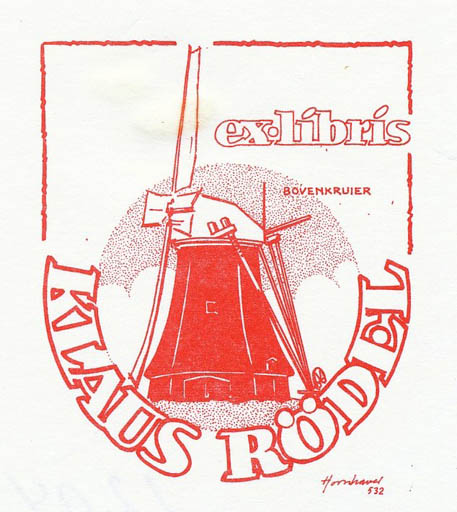 Exlibris by Hans Chr. Hornhaver from Denmark for Klaus Rödel - Mill
