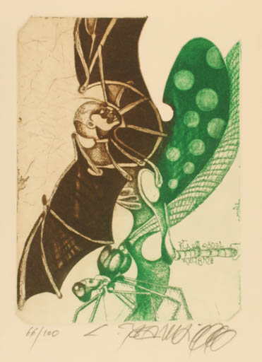 Exlibris by Leo Bednarik from Slovak Republic for Klaus Rödel - Insect Surrealism