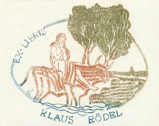 Exlibris by Franz Illi from Romania for Klaus Rödel - Europa and the Bull Mythology