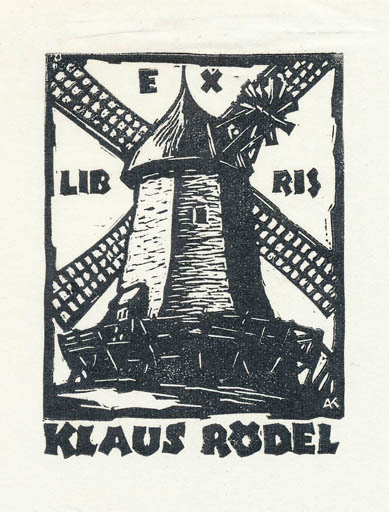 Exlibris by Karoly Andrusko from Yugoslavia for Klaus Rödel - Mill