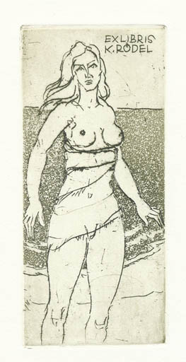 Exlibris by Rudolf Koch from Germany for Klaus Rödel - Woman