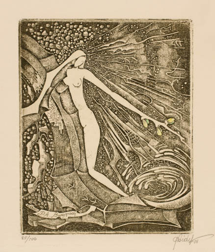 Exlibris by Grazina Didelyte from Lithuania for P.A Burggraaf - Woman Nude