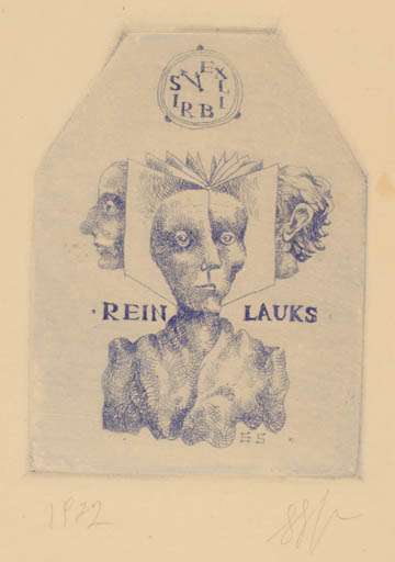 Exlibris by Stasys Eidrigevicius from Lithuania for Rein Lauks - Portrait