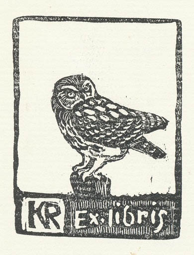 Exlibris by Leif Rydeng from Denmark for Klaus Rödel - Bird Owl
