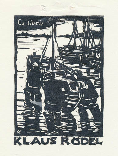 Exlibris by Kàroly Andrusko from Yugoslavia for Klaus Rödel - Maritime Ship/Boat