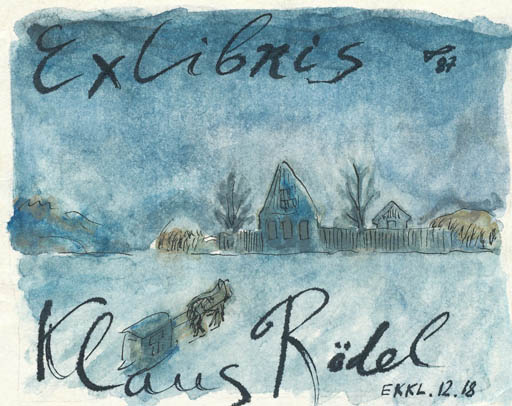 Exlibris by Jurij W. Kuznetsow from Soviet Union for Klaus Rödel - Scenery/Landscape