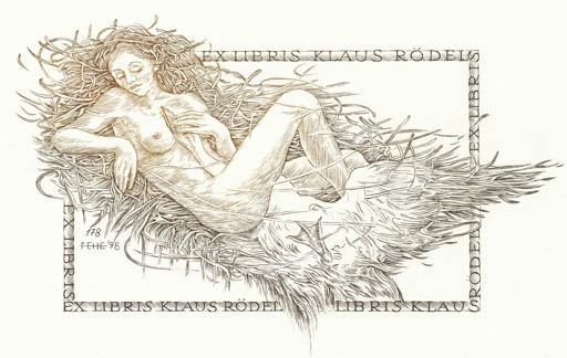 Exlibris by Henryk Feilhauer from Poland for Klaus Rödel - Erotica Leda and the Swan Mythology