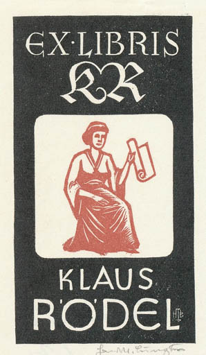 Exlibris by Hans Michael Bungter from Germany for Klaus Rödel - Woman Literature