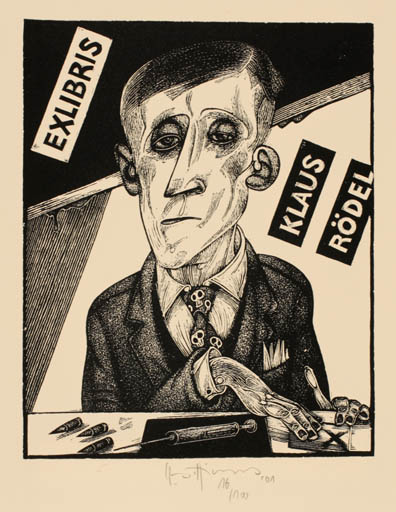 Exlibris by Karl Georg Hirsch from Germany for Klaus Rödel - Man Portrait