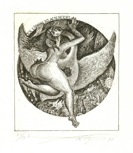 Exlibris by Vladimir Verechagin from Russia for Klaus Rödel - Erotica Leda and the Swan Mythology