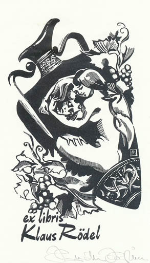 Exlibris by Hermina Horvath from Belgium for Klaus Rödel - Woman Romance Wine