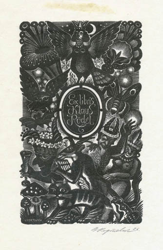 Exlibris by V. Kortovich from Russia for Klaus Rödel - Fairytale/fable