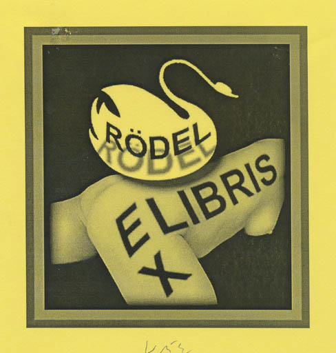 Exlibris by Axel Vater from Germany for Klaus Rödel - Leda and the Swan Mythology