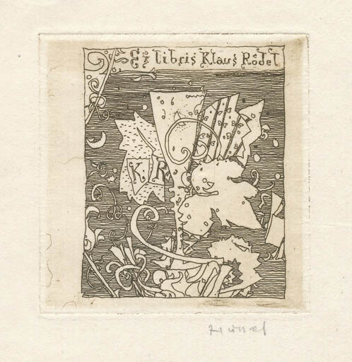 Exlibris by Horst Hussel from Germany for Klaus Rödel -