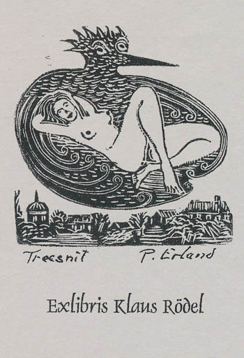 Exlibris by Paul Erland Jensen from Denmark for Klaus Rödel - Bird Woman Nude