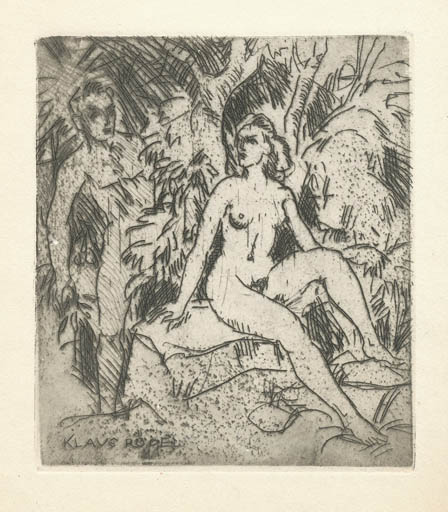 Exlibris by Rudolf Koch from Germany for Klaus Rödel - Woman Literature Nude Couple