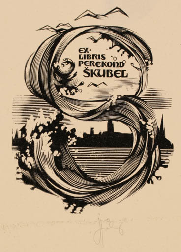 Exlibris by Lembit Löhmus from Estonia for Perekond Skubel - City Maritime