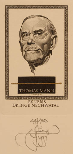 Exlibris by Lembit Löhmus from Estonia for Dr. Inge Nechwatal - Literature Man Portrait Historical Person