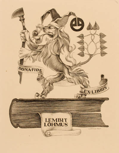 Exlibris by Lembit Löhmus from Estonia for Lembit Löhmus - Book Fable Animal