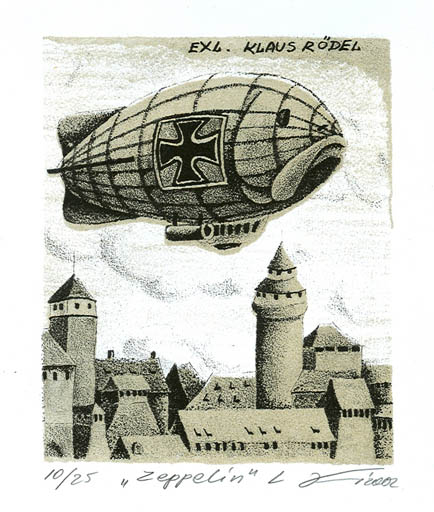 Exlibris by Andrij Kens from Ukraine for Klaus Rödel - City Aircraft