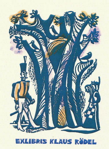 Exlibris by German Ratner from Russia for Klaus Rödel - Fairytale/fable Literature