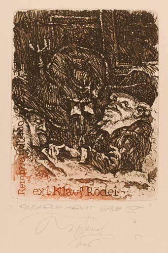 Exlibris by Sergey Parfionov from Russia for Klaus Rödel - Man Portrait Historical Person