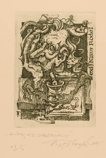 Exlibris by Sergey Parfionov from Russia for Klaus Rödel - Book Hand(s) Woman Man Portrait Theater/Cirkus
