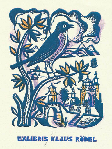 Exlibris by German Ratner from Russia for Klaus Rödel - Fairytale/fable Bird Literature