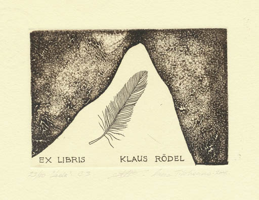 Exlibris by Anna Tikhonova from Russia for Klaus Rödel - Leda and the Swan Mythology