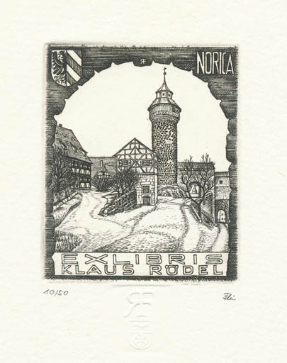 Exlibris by Rolf Fleischmann from Germany for Klaus Rödel - City