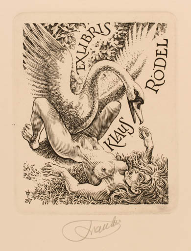 Exlibris by Frank-Ivo van Damme from Belgium for Klaus Rödel - Leda and the Swan