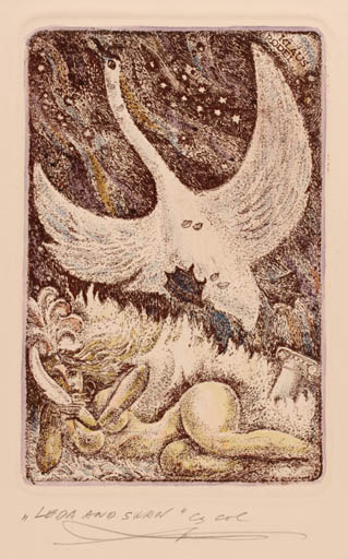 Exlibris by Vladimir Verechagin from Russia for Klaus Rödel - Leda and the Swan Mythology