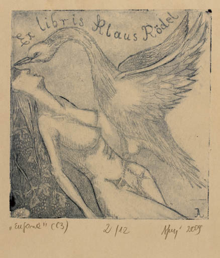 Exlibris by Aleksandra Jagodzinska from Poland for Klaus Rödel - Leda and the Swan
