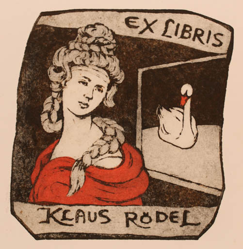Exlibris by Torill  Elisabeth Larsen from Norway for Klaus Rödel - Leda and the Swan