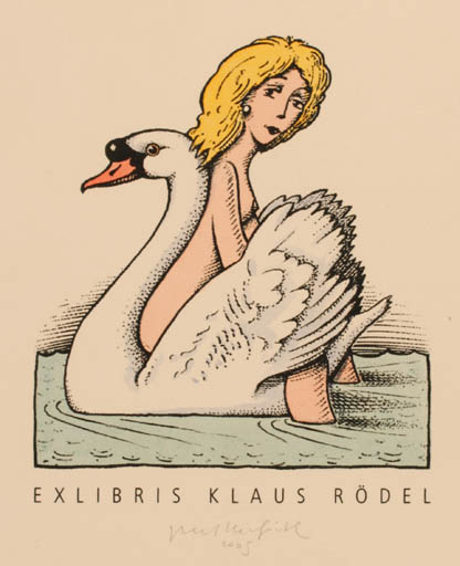 Exlibris by Egbert Herfurth from Germany for Klaus Rödel - Leda and the Swan