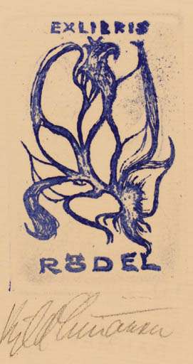 Exlibris by Kjeld Simonsen from Denmark for Klaus Rödel - Flower