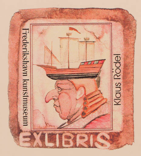 Exlibris by Antonino Viviano from Denmark for Klaus Rödel - Man Ship/Boat