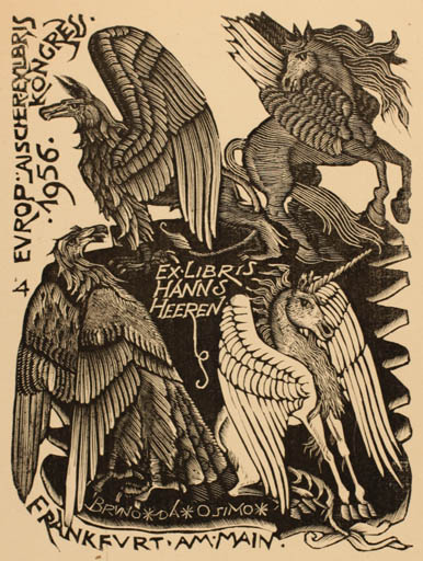 Exlibris by Bruno da Osimo from Italy for Hanns Heeren - Fable Animal
