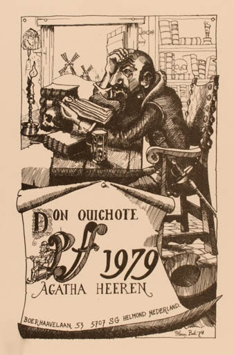 Exlibris by Henri Bol from Netherland for Agatha Heeren - Book Don Quijote Interior Mill