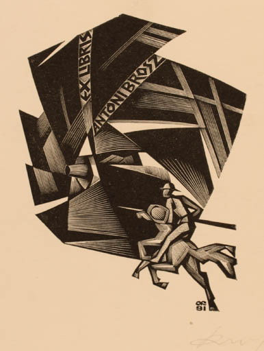 Exlibris by Anatolij Kalaschnikow from Russia for Antoni Brosz - Don Quijote Horseman/Rider